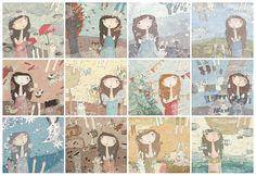 Set of 12 prints Twelve months Art Print Art Angel by FromAnPro