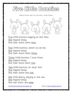 5 little bunnies rhyme & finger puppet template from *Lil Country Kindergarten*