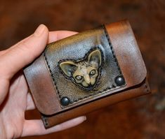 Steampunk wallet Steampunk Sphynx cat Leather wallet Flap Wallet Credit Card Wallet Boyfriend gift Custom Small purse Small gifts Steampunk by FamilySkinersStyle to Etsy