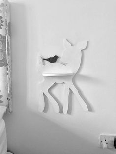 Baby Deer and Little Bird - Deer Wall Table - Kid Shelf - Nursery Decoration - Kid Room Decor -