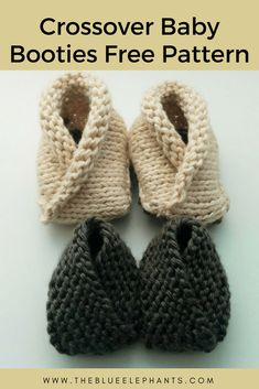 Crochet Baby Booties crossover baby booties free pattern - Today I have a very simple knitting pattern to share with you guys, and it's these adorable crossover baby booties. These baby booties Free Newborn Knitting Patterns, Baby Booties Knitting Pattern, Beginner Knitting Patterns, Baby Hats Knitting, Easy Knitting, Baby Patterns, Knitting Socks, Knitting Projects, Start Knitting