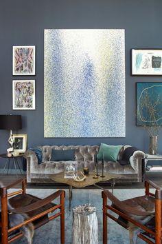 Posh sofa + modern art + mid century chairs = perfection