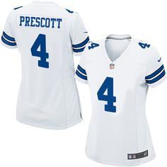 Nike Dallas Cowboys Women s  4 Dak Prescott Game White Road NFL Jersey  Dallas Cowboys Women b520f4247
