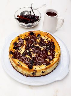 The best cherry & chocolate cheesecake - Jamie Oliver - this sounds incredible. For those not int he UK, digestives are sort of like graham crackers with chocolate on them - I'm sure you could substitute graham crackers for these Cherry And Chocolate Cheesecake, Chocolate Cherry, Chocolate Chocolate, Cherry Cheescake, Chocolate Cheescake, Valrhona Chocolate, Bakers Chocolate, Organic Chocolate, Chocolate Truffles