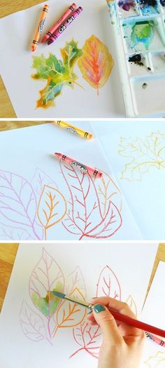 crayon and watercolor leaves. fall crafts for kids to make. DIY fall crafts for kids with leaves.