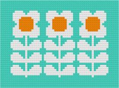 Retro Flowers Cross-Stitch Pattern by Hollie Harris Loom Beading, Beading Patterns, Embroidery Patterns, Cross Stitching, Cross Stitch Embroidery, Cross Stitch Patterns, Mochila Crochet, Pixel Crochet, Lazy Daisy Stitch