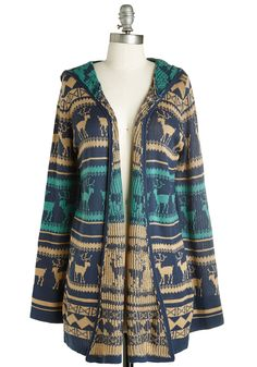 Your Nearest and Deer-est Cardigan - Long, Knit, Multi, Green, Blue, Tan / Cream, Print, Boho, Rustic, Long Sleeve