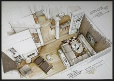 interior illustration Powered by: Interior Design Renderings, Drawing Interior, Interior Rendering, Interior Sketch, Color Interior, Sketches Arquitectura, Interior Design Presentation, Architecture Drawings, Architecture Models