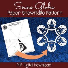 Snow Globe Paper Snowflake Pattern PDF by PaperSnowflakeArt