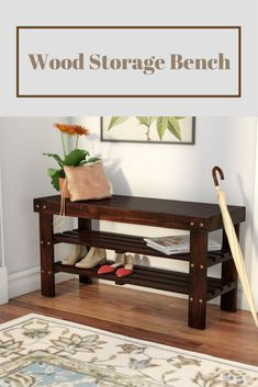 Simple Bench for the front entryway.   Andover Mills Wood Storage Bench in Cherry and White  #ad