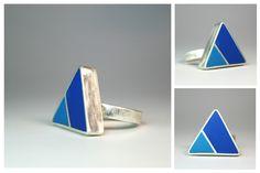 Angelina Jane - Geometric minimalist sliver and resin ring
