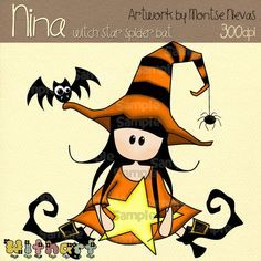 Witch star spider bat Nina dolls clip art set images for scrapbooking card making transfers printable crafts by Withart Country Halloween, Halloween Rocks, Halloween Signs, Halloween Cards, Halloween Themes, Vintage Halloween, Fall Halloween, Happy Halloween, Halloween Decorations