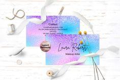 Digital Business Card, Artist Business Cards, Business Branding, Business Card Design, Word Fonts, Pink Glitter, Card Templates, School Design, Holographic