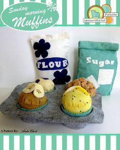Sunday Morning Muffins Retro Style Felt Food Breakfast Pattern