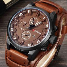 106c5b114d7 Barato Curren 8225 Homens De Couro Militar Do Exército Quartz Mens Relógios  Top Marca de Luxo