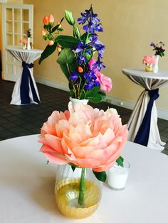Coral peony cocktail tables