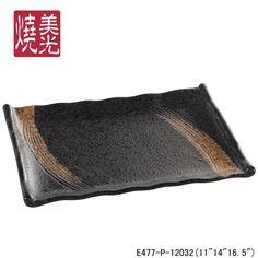 MG themed restaurant ceramic tableware&stoneware rectangular serving platter E477-P-12032  Size 1: length 40 x width 29 x height 4 CM Size 2: length 28 x width 20 x height 3 CM