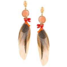 Gas Bijoux 'Serti' feather earrings (252 CAD) ❤ liked on Polyvore featuring jewelry, earrings, metallic, feather earrings, gas bijoux, post earrings, feather jewelry and earring jewelry