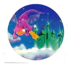 Rare Vintage Lisa Frank Flying Winged Purple Dragon and Castle Sticker 80s via Etsy