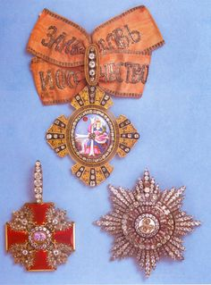 A set of Russian court orders diamond brooch royal order star badge order of st.catherine