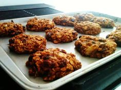 SUPER Yummy Oatmeal-Raisin-Banana-Cinnamon cookies!    Ingredients:  GF Rolled Oats (1c)  Coconut Palm Sugar(3tbs)  Baking Soda (1/4tsp) Cinnamon (1tsp)  Salt (1/4 tsp)   Coconut Oil  (1.5 tbs)Almond Milk(2tbs)  Raisins(1c)  2 Ripe Bananas    PREHEAT oven to 375 degrees-    Blend or mix first 5 ingredients     Add last 4 ingredients until well mixed    Bake at 375 for 8-10 minutes (or longer if crunchy cookies are preferred)    Let cool for 5 minutes and enjoy~