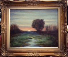 Evening mist over the meadows. Oil on canvas inspired by Dennis Sheehan of the Boston School of artists. #oilpainting