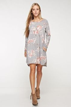 Floral French Terry Dress in Light Grey