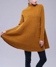 Loving this Brown Wool-Blend Mock-Neck Sweater Dress on #zulily! #zulilyfinds