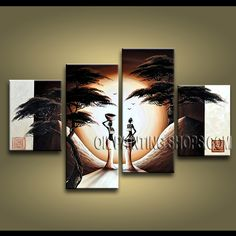 Huge Contemporary Wall Art Hand-Painted Art Paintings For Living Room Figure. This 4 panels canvas wall art is hand painted by Anmi.Z, instock - $138. To see more, visit OilPaintingShops.com
