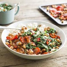 Jerk chickpeas & roasted peppers with callaloo (spinach & coconut sauce)