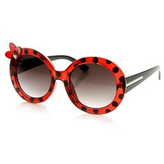 Womens Oversize Round Flower Lady Bug Print Sunglasses 9335 | zeroUV