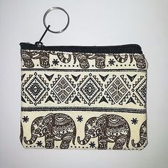 Handmade Small Pouch Bag Zip Coin Thai Elephant Fabric Key Chain Purse Makeup CC
