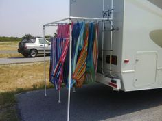 "Tips and Hacks for the best camping experience PVC PROJECTS: ""This is a heavy-duty clothes line and hanger I made for my RV. It is X X and can hold a lot of stuff. Great for beach camping!"" -Read More – - Camping Hacks, Camping Glamping, Beach Camping, Camping Survival, Outdoor Camping, Camping Ideas, Rv Hacks, Survival Hacks, Truck Camping"