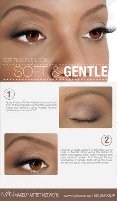 Soft & Gentle makeup eye look using Makeup Artist Network products, a perfect look for any event! Click here for a step-by-step.