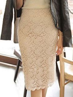 Shop Khaki Crochet Lace Pencil Skirt from choies.com .Free shipping Worldwide.$27.89