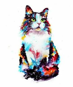 3 Watercolor Cat Meow Kitty Kitten Cute Pet Hippie Peace Vinyl Cool Sticker - Pet Fashion clothes for dogs and cats Ideas from Professionals Watercolor Animals, Watercolor Paintings, Watercolor Cat Tattoo, Watercolor Trees, Watercolor Background, Watercolor Landscape, Abstract Watercolor, Animal Paintings, Animal Drawings