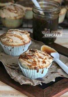 Salted Caramel Cupcakes. Injecting cupcakes with caramel sauce = brilliant.