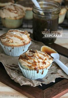 salted caramel cupcakes. Ingredients needed: butter, dark brown sugar, light brown sugar, milk, flour, baking powder, salt, sugar, eggs, vanilla, sea salt for topping