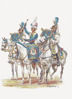 Dragons de la Garde Imperiale - Timbalier et Trompettes
