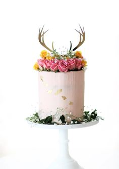 Boho Antler Wedding Cake Topper in Gold Mirror | Handmade Wedding Decor & Gifts at www.ZCreateDesign.com... or shop ZCreateDesign on Etsy