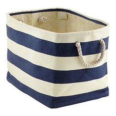 Navy & Ivory Rugby Stripe Bins | The Container Store