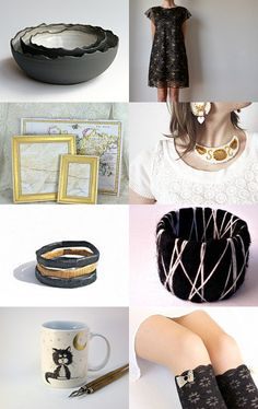 Black, White and Gold by Sabina on Etsy--Pinned with TreasuryPin.com