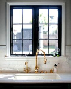 Brass Gooseneck Kitchen Faucet - Design photos, ideas and inspiration. Amazing gallery of interior design and decorating ideas of Brass Gooseneck Kitchen Faucet in kitchens by elite interior designers. Black Window Frames, Black Windows, Small Windows, Black Frames, Painted Window Frames, Timber Windows, Gold Interior, Kitchen Interior, Black Interior Design