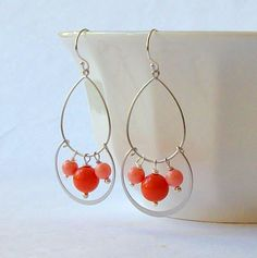 Coral Red Orange Chandelier Earrings by PeriniDesigns on Etsy