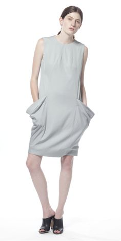 Uti Morning Fog Drape Pocket Dress by Schai  #fashion #style #glamour #beautiful #runway #designer #color #women #apparel #clothes #clothing #texture #textile #accessories #accessory #outfit #chic #luxe #luxury #dress #summer #silk #light #bright #neutral #structured #spring #casual