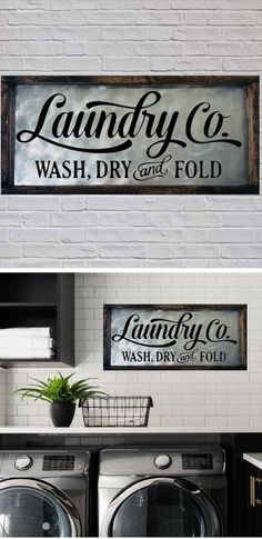 This beautiful rustic galvanized metal and wood framed sign measures 11 x 23 inches and is available in a dark walnut stain. #ad #laundry #laundryroom #homedecor