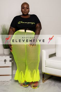 """Plus Size """"Bloom"""" Fishnet Bell Bottom Pants - Neon Lime – Thick Girl Fashion, Plus Size Fashion For Women, Curvy Fashion, Plus Size Women, Fat Fashion, Summer Outfits, Girl Outfits, Cute Outfits, Bell Bottom Pants"""