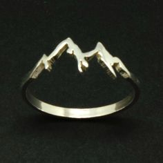 Sterling Silver Mountain Range Ring - Camp, Mountain Biking, Nature Motivation Jewelry, Hiking, snowboard lover, ski gift, valentine's day by yhtanaff on Etsy https://www.etsy.com/listing/457672980/sterling-silver-mountain-range-ring-camp