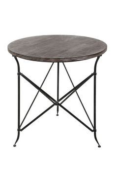 Privilege Intl. Black Large Round Iron and Wood Accent Table $179 - option for table between pair of chairs in living room
