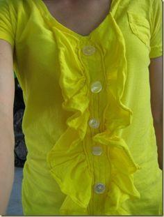 18 Ideas T-shirt Refashion Link Diy Clothes, Refashioned Clothes, Shirt Transformation, Shirt Dress Pattern, T Shirt Painting, Shirt Tutorial, Recycled T Shirts, Shirt Refashion, Ruffle Shirt